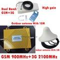 Repetidor GSM 3G WCDMA Amplificador Celular Repetidor GSM 900 MHz 2100 MHz la Señal del teléfono GSM de Refuerzo Repetidor de Doble Banda 2G 3G Completo Kit