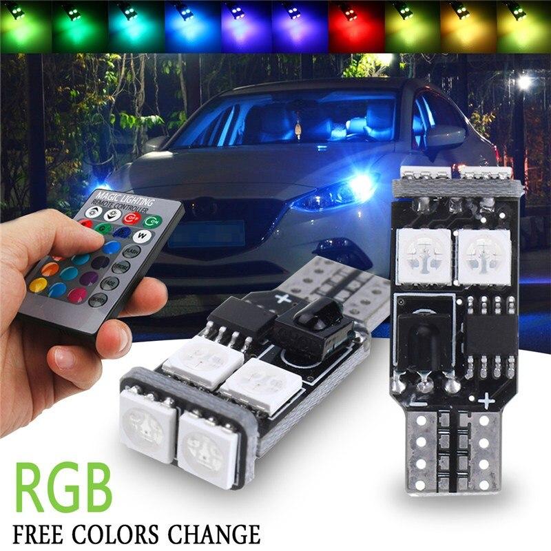 2 pcs T10 RGB 6 SMD 5050 LED De Voiture Auto Wedge Côté lumière Largeur Lampe de Lecture Intérieur Ampoule Avec Télécommande DC12V