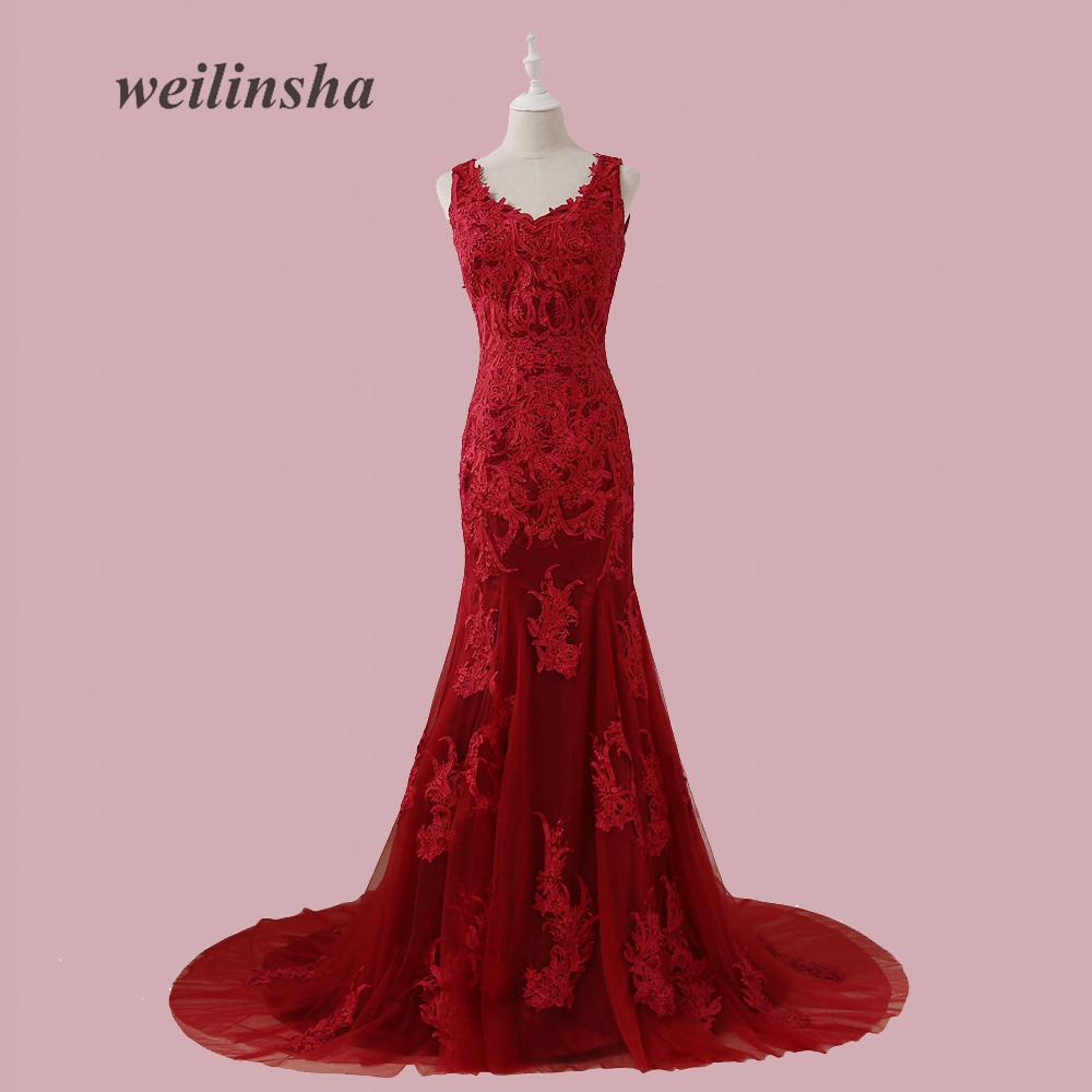 weilinsha 2017 New Sexy Appliques Longo Evening Dress Tulle Mermaid Sweep Train Cap Sleeve