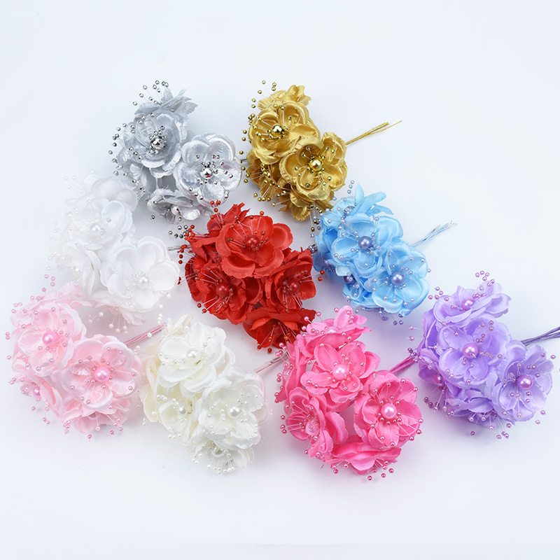 6pcs Gold silver Bride wrist flower Pearl decoration cheap silk Cherry Christmas wreath diy needlework brooch artificial flowers