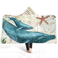 Sea Animals Warm Sherpa Blanket Retro Map Blanket for Travel Starfish Print Winter Wearable Plush Throw Blanket Kids Bedding