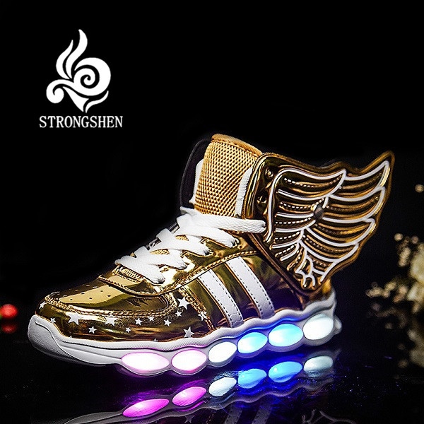 STRONGSHE Barnskor med lätta pojkar och tjejer Casual LED-skor för barn USB-laddning LED-ljus upp 3 färger Wing Kids Shoes