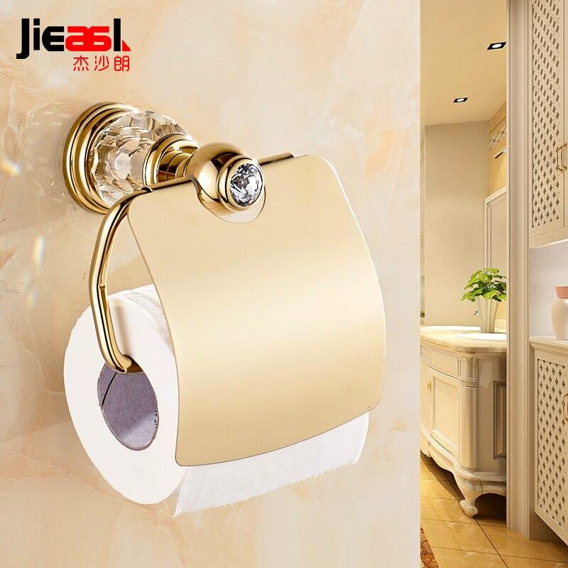 Creative porte-papier hygiénique avec étagère drôle doré porte-rouleau de papier hygiénique distributeur cristal salle de bains accessoires 7051
