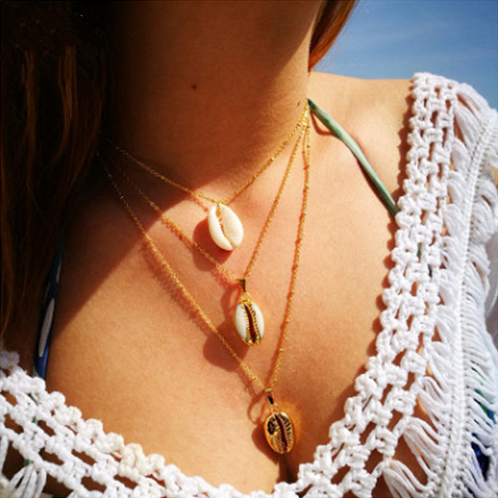 Bohemian Three Layers of Shell Pendant Necklace Natural Gold Cowrie Women multi-layer Cowry Seashell charm