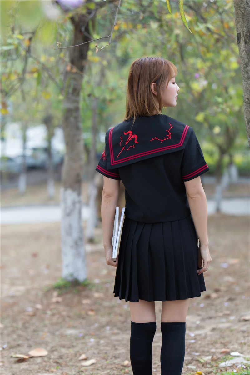Hot Jk Sets Japanse School Uniform School Meisje Uniformen Cosplay Dark Devil Borduurwerk Student Collage Matrozenpakje Vrouwelijke Zwarte