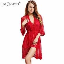Lisacmvpnel haft seksowna damska suknia zestaw Rayon damski szlafrok z dekoltem w szpic koszula nocna Plus rozmiar damski rozpinany