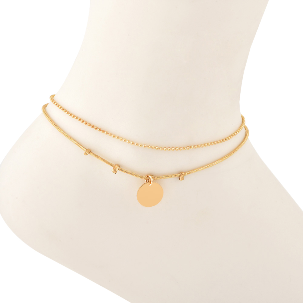 Double Layers Anklets Pendant Bracelet Adjustable Double-stitched Anklets Heart Pendant Bracelet  Foot Chain Beach Party Casual