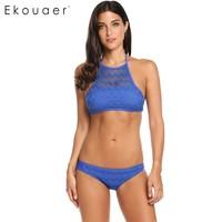 Ekouaer Sommer Frauen Doppelschichten Aushöhlen 2 Stücke Bikini Set Elastischen Häkelarbeit Push Up Sexy Schlank Bodysuit Badeanzug