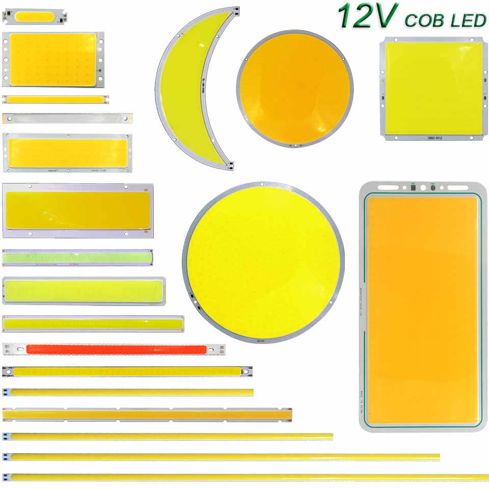 12 v lâmpada led cob tira de luz 2 w 5 10 20 50 200 dc12v diodo lâmpadas led para diy carro auto lâmpadas drl luzes trabalho casa iluminação