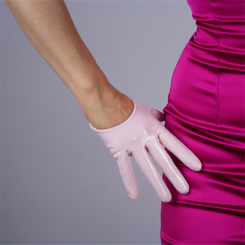 Fashionable Ultrashort Patent Leather Womans Gloves Faux Genuine PU 13cm Female Mittens P52