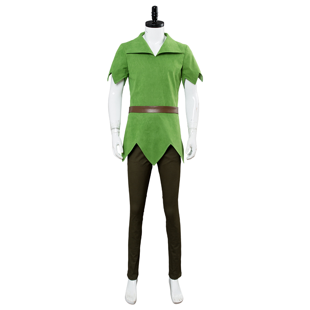 Peter Pan Cosplay Costume Outfit Halloween Uniform Green Dress Men Suit