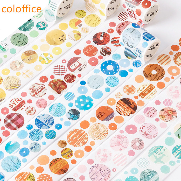 Coloffice Colorful Washi Tape Round Shape Stationery Sticker Practical Handbook Release Paper Material Decoration Sticker 1PC