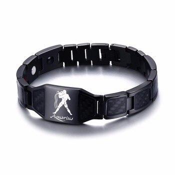 Vnox 12 Horoscope Sagittarius Symbols Power Bracelets for Men Stainless Steel Insert Carbon Fiber Heavy Punk Wristband 18