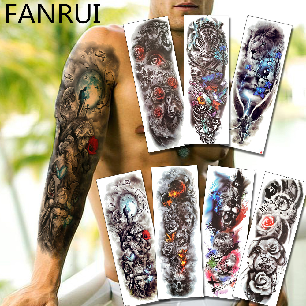 Army Warrior Soldier Black Temporary Tattoo Stickers For Men Full Body Art Arm Sleeve Tattoo 48*17CM Large Waterproof Tatoo Girl telle mère telle fille vetement