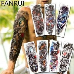 Ejército Guerrero soldado negro tatuaje temporal pegatinas para hombre cuerpo completo arte manga de tatuaje para brazo 48*17CM grande impermeable tatuaje chica