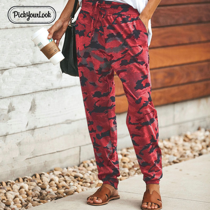 Pickyourlook Camouflage Women Trousers Pant Military Army Printed Camo Lady Pants Fashion Pencil Straight Cargo Female Trousers in Pants amp Capris from Women 39 s Clothing