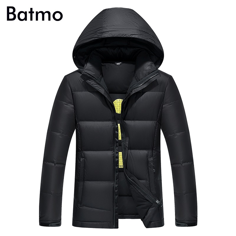 Batmo 2017 new arrival winter high quality 85% white duck down jacket men,winter casual hooded coat men ,plus-size YZ008