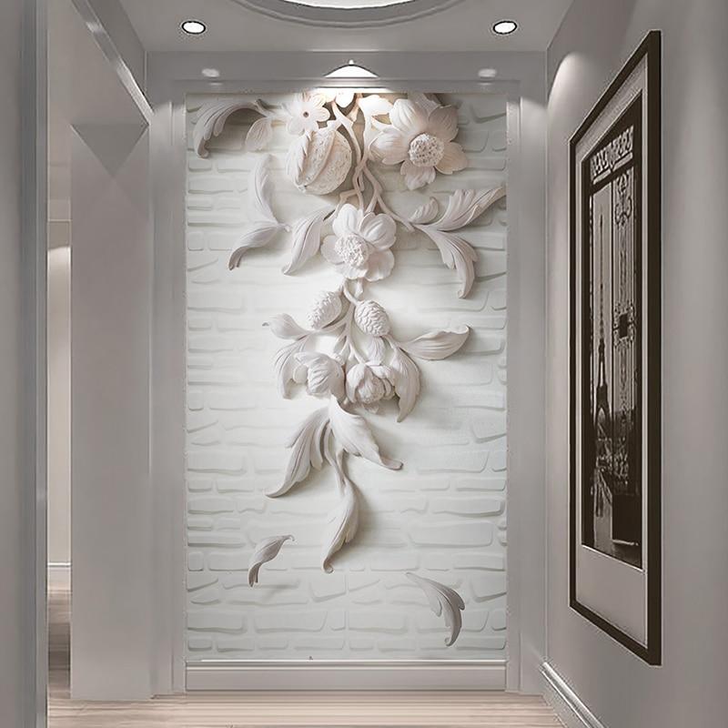 3d murale Gesso Fiore 3d Mattoni Carta Da Parati per Corridoio foyer ...