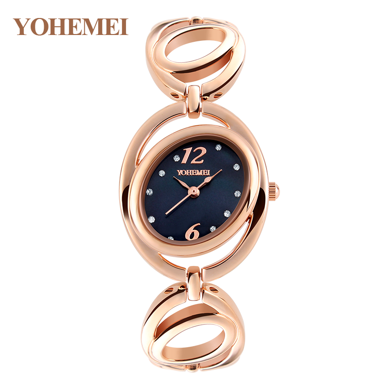 YOHEMEI New Brand Watches Women Gold Luxury Brand Alloy Strap Quartz Watch For Ladies Casual Bracelet
