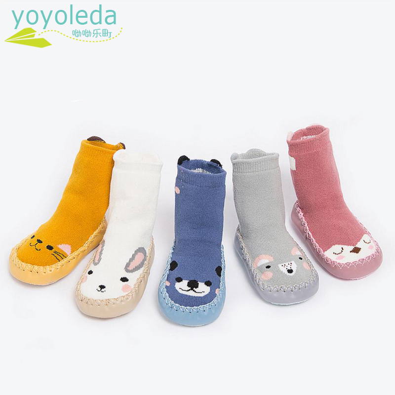 Newborn Foot Socks Baby Boys Girl Socks Shoes Warm Soft Leather Soles Comfort Infant Shoes Kids Socks Baby's Knitting Booties