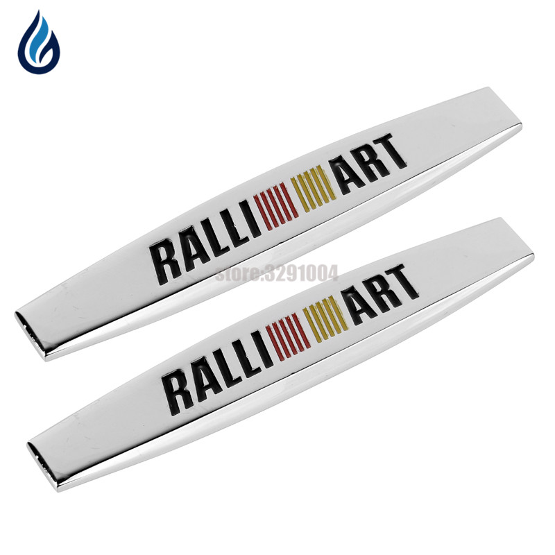 Car Fender Side Sticker RALLIART Metal Emblem Decal For Mitsubishi ASX Lancer Pajero Outlander L200 EVO Eclipse Grandis Galant yuzhe leather car seat cover for mitsubishi lancer outlander pajero eclipse zinger verada asx i200 car accessories styling