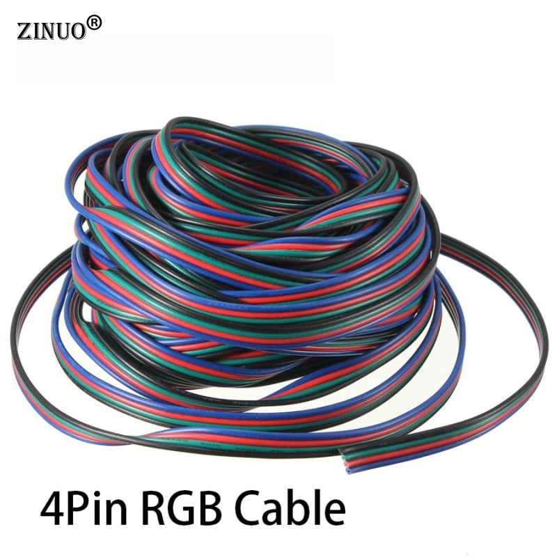 ZINUO 4Pin Channels LED RGB Cable Wire 5m 10M 15M 20M 30M For 5050 3528 Strip Light Extension Extend Wire Cord Connector 10m 5m 3528 5050 rgb led strip light non waterproof led light 10m flexible rgb diode led tape set remote control power adapter