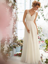 2014 Summer Gorgeous Good Price Sheath V Neck Beaded Sweep Train Chiffon Wedding Dress Bridal Gown With Appliques ML002