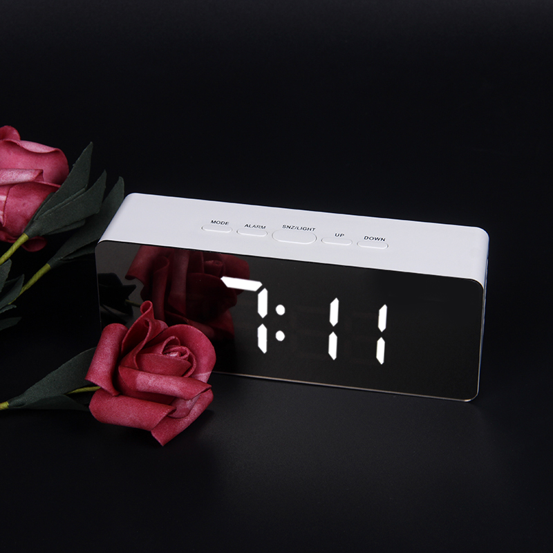 JULY S SONG font b Digital b font Mirror LED Alarm Clock Night Lights Thermometer Electronic