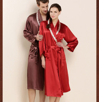 Super Grade Female 100% Silk Robe Natural Chinese Silk Women Gowns Bride Robes 19 Momme Long Sleeve Sexy Mens Sleepwear Bathrobe