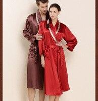 Super Grade Female 100% Silk Robe Natural Chinese Silk Women Gowns Bride Robes 19 Momme Long Sleeve Sexy Mens Sleepwear Bathrobe