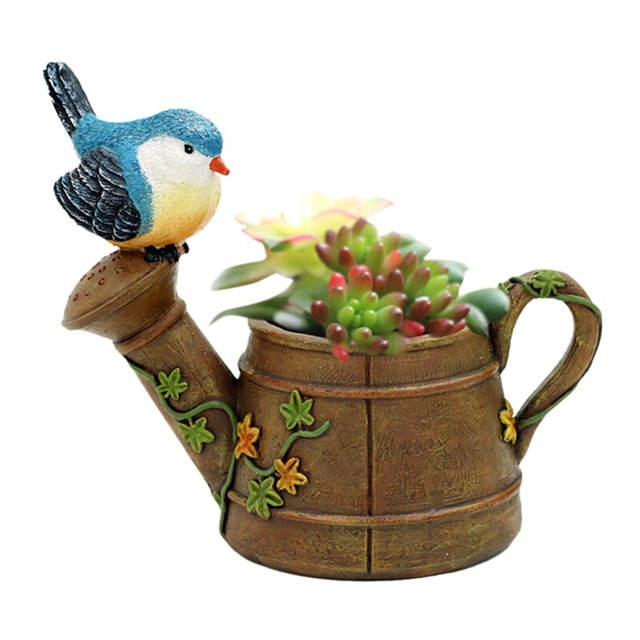 MISS ROSE Lovely Resin Planter Flowerpot Pastoral Bird