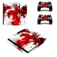 Turkey Flag Decal PS4 Slim Skin For Playstaion 4 Console PS4 Slim Skin Stickers+2Pcs Controller Protective Skins