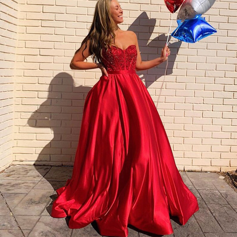 2019 New Arrival A-line   Prom     Dress   Sweetheart Neckline Delicate Beading Formal Party   Dresses   Red Satin   Prom   Gowns Sweep Train