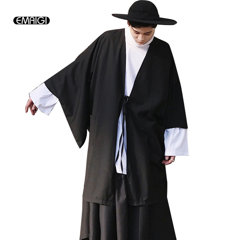 Mens Long Thin Harajuku Street Kimono Trench Coat Male Casual Loose Cardigan Jacket Black Outerwear