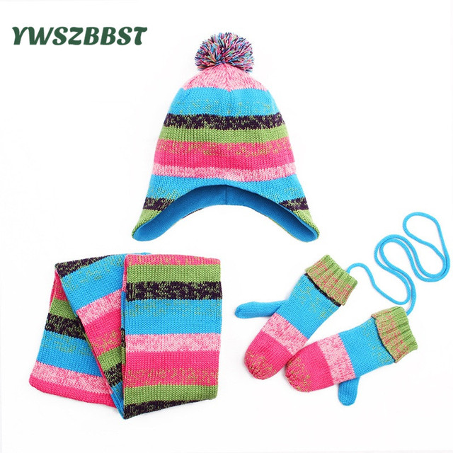a10255c584c6 3pcs set Winter Baby Hat Scarf Gloves Knit Plush Warm Baby Hat for Girls  and Boys Kids Children Caps Scarf Gloves set