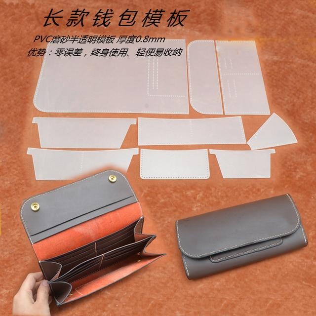 leather craft women wallet long shape multi pocket pvc