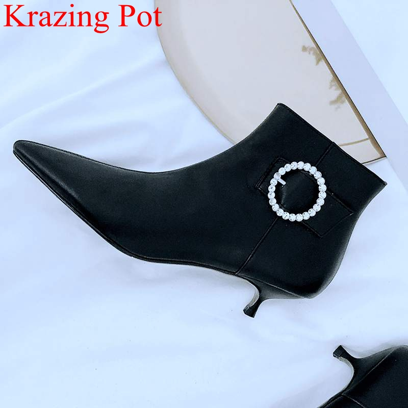 Krazing Pot new arrival big size pointed toe cow leather women ankle boots zipper nightclub elegant crystal winter shoes L85