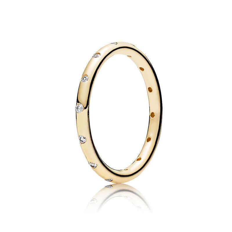 Kolor srebrny pierścień Charms Diy 3 kolor różany złoty srebrny pierścień na palec w kolorze złotym z kryształem Cz dla kobiet 925 biżuteria
