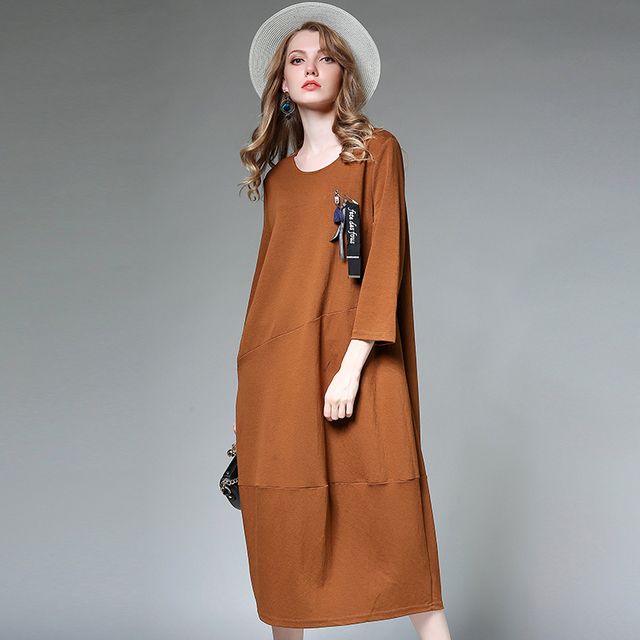 b27d9e80ea0a winter dress women long sleeve vintage 20174XL female oversized brown  autumn Casual Long Sleeve Cotton Maxi Big Plus Size Dress