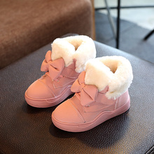 Cute Bowknot Princess Girls Winter Warm Boots Fashion Children Shoes Cotton Padded Kids Ankle Boots Pink Red Black Color