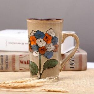 Image 3 - 손으로 그린 세라믹 컵 큰 머그잔 복고풍 커피 식기 개성 커플 창의력의 전체