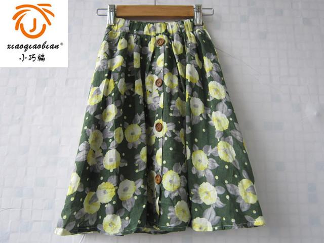 Flor verde falda de algodón larga falda de dos capas falda de verano para niñas 3 4 5 6 7 8 9 10 11 12 años niñas ropa floral falda