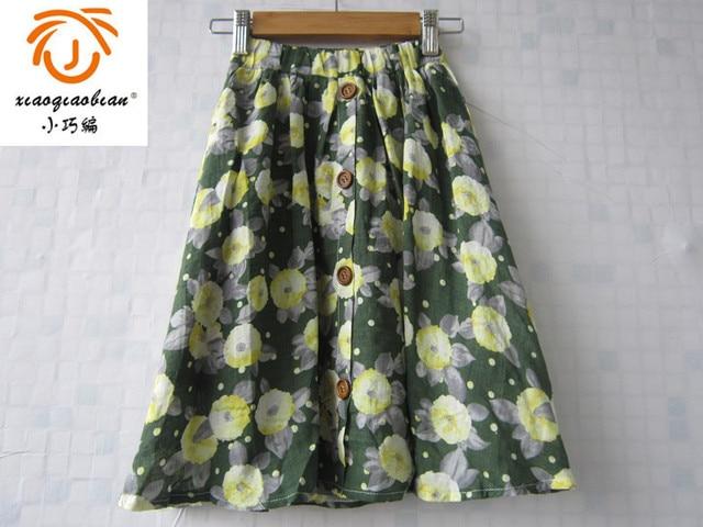 XQB 2016 flower summer green skirt cotton long skirt brand kids girl skirt floral girls clothes 3 4 5 6 7 8 9 10 11 12 years