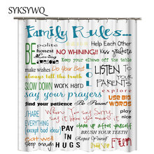 Family Rules Bathrooom Shower Curtain English Letters Cloth Curtains For Bathroom Fabric