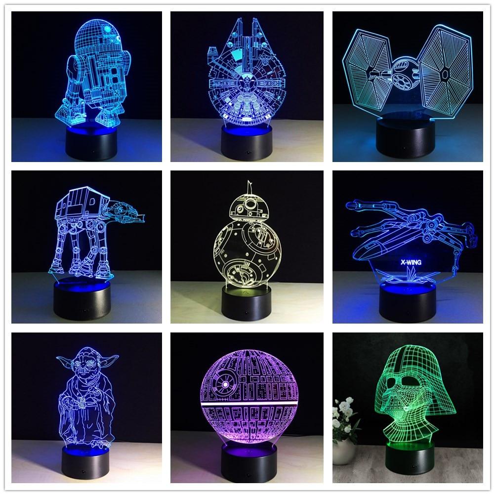 3d Star Wars Figure 7 couleur Led lampes de nuit pour enfants tactile Led Usb Table Lampara Lampe bébé sommeil veilleuse livraison directe