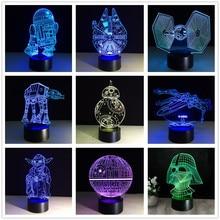 3d Star Wars Figuur 7 Kleur Led Nacht Lampen Voor Kinderen Touch Led Usb Tafel Lampara Lampe Baby Slapen Nachtlampje drop Schip