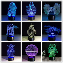ثلاثية الأبعاد حرب النجوم الشكل 7 اللون Led مصابيح الليل للأطفال اللمس Led Usb الجدول لامبارا امب الطفل النوم ضوء الليل هبوط السفينة