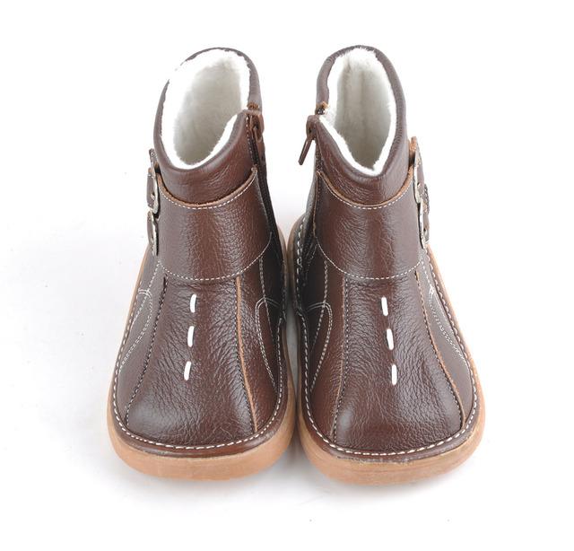 Sandq suaves del bebé zapatos de cuero marrón niños botas con hebillas de invierno cálido con hebilla wholesale retail envío gratis