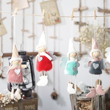 1PC Plush Angel With Heart Christmas Pendant Decorative Door Window Hanging Figurine Ornaments Holiday Gift Decorations