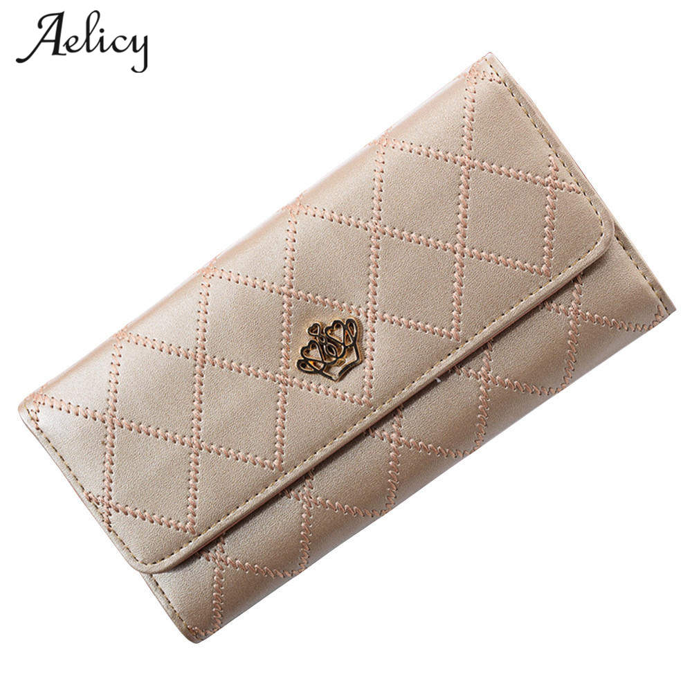 Aelicy Fashion High Capacity Women Leather Wallets Lady Long Clutch Wallet Female PU Leather Card Holder Purse luxury brand women wallets metal crown lady long clutch wallet female pu leather flip up card holder purse